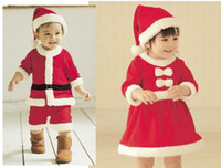 boys/girls 1-3Year 100% Cotton Wholesale - kuds Christmas Romper Set baby Christmas clothing cotton girl Sanda dress Masquerade bab