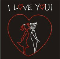 Wholesale 5 quot I LOVE YOU Heart Iron on Rhinestone Transfers Motifs Designs Hotfix Valentine s Day