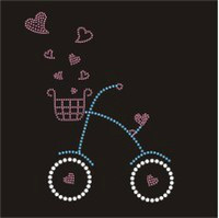 Wholesale 9 quot Bicycle with Heart Iron on Rhinestone Transfers Motifs Designs Hotfix Valentine s Day