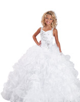 Wholesale White Princess Ball Gown Formal Dress Rhinestone Beaded Ruffle Organza Flower Girl Dress FDG896