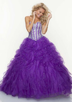 Spectacular 2013 Bright Purple Prom Dresses Sweetheart Ruffl...