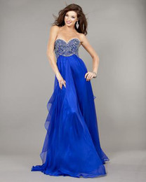 Wholesale 2013 Sexy Royal Blue Empire Sweetheart Prom Dresses Beaded Ruffled Chiffon Floor Length MZ124