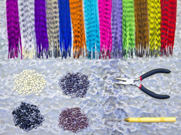Wholesale Free Ship Cheap Grizzly Rooster Feather Synthetic Hair Feather Beads Feathers Pro Tool Kit