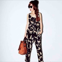 Wholesale Lady Leopard Prints Sleeveless Elastic Waist Thin Jumpsuits Romper Black XS DNE