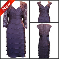 Wholesale New Square Neck Sheath Knee Length Ruche Layered Sexy Lace Taffeta Mother Of Bride Dress With Jacket