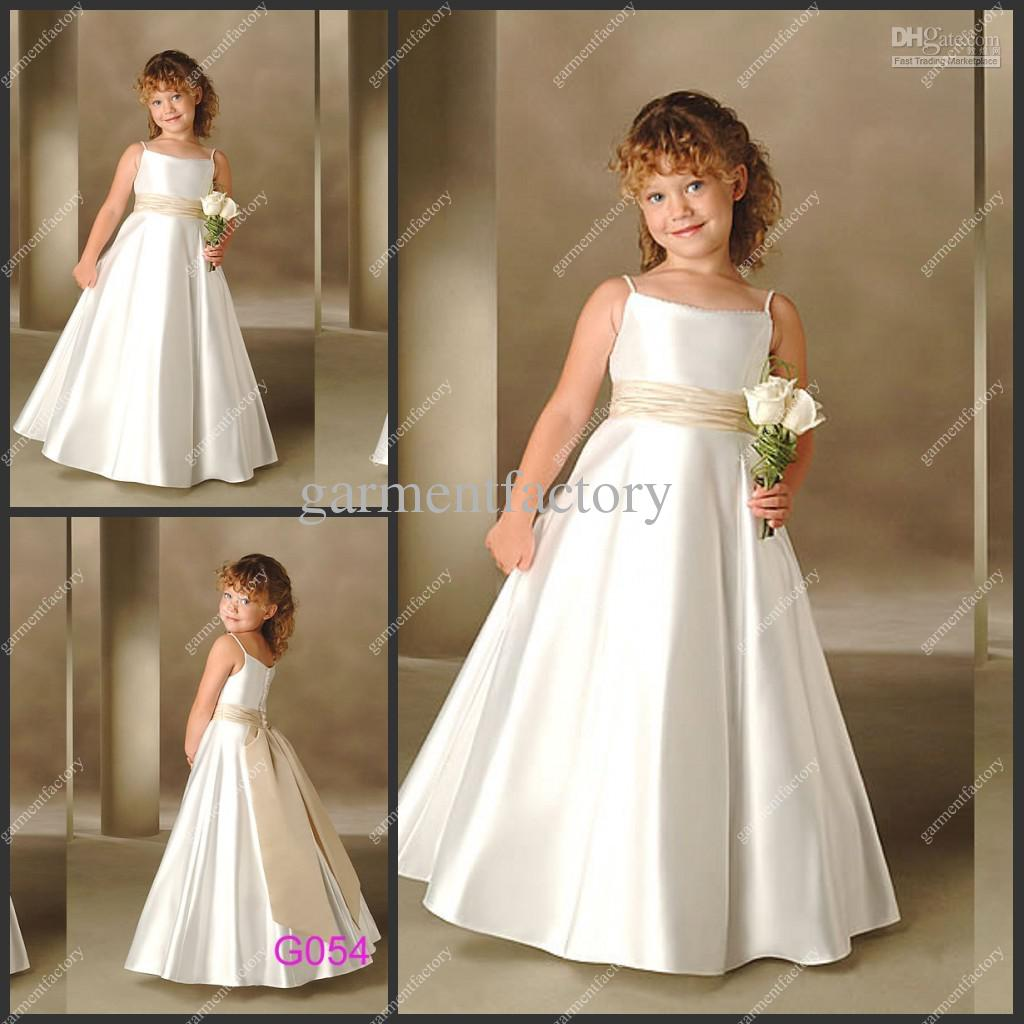 2012 Vintage A Line Ivory Satin Flower Girls Dresses Size 14 For ...