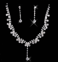 Wholesale 15 Cheap Wedding Bridal Prom Dressess Rhinestone Jewelry Earring Necklace Sets