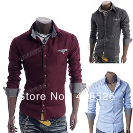 Wholesale Men s Square Collar Long Sleeve Slim Fit Korea Style dress Shirts Colors M L XL XXL