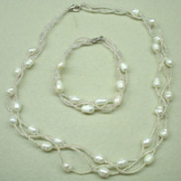 Wholesale Natrual Freshwater Pearl Necklace Bracelet Set Bridal Wedding Jewellery Set