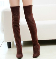 over the knee boots - Fashion Jackboots Over The Knee Boots For Women Faux Suede Upper Stretch Fabric Slim Boots whoesale