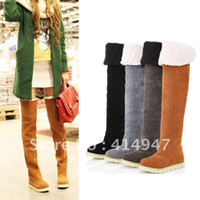 Wholesale 2014 New Big Size Women s Suede Flat Boots Winter Thigh High Boots Over The Knee color Boots Shoes free shippin