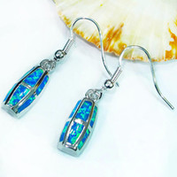 Wholesale Fashion Classic blue opal Silver Earrings E4098