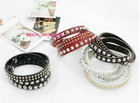 Wholesale New Fashion Unisex Multi layer Artificial Leather Rivet Bracelet Wristband Charm Bangle colors