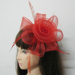 Wholesale 18 New Party Cocktail Women Fascinator Party Wedding Feather Veil Hat Hair Clip
