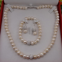Wholesale Natrual Freshwater Pearl Bridal Jewellery Set Necklace Bracelet Earrings Set