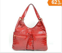 Plain red patent leather handbag - 2013 Brand New Handbags Women s Designer Inspired Shoulder bag RED Patent crocodile leather
