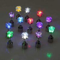 Wholesale LED Flashing Light Stainless Steel Ear Stud Earrings Fashion Jewelry V7137