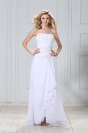 Wholesale Simple Fashion Beads Appliques Ruffle White Chiffon Strapless Evening Dresses Wedding Dresses W207