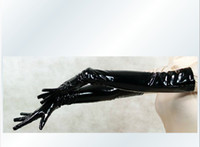 Wholesale Free P amp P Sexy Pair Of Lycra spandex Zentai Conjoined corset black PVC long gloves