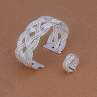 Wholesale hot sell Noble fashion jewelry silver charm cross new mesh bangle ring set High quality