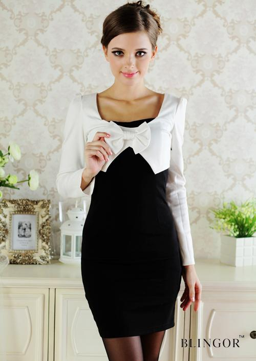 Womens Evening Dresses Fitted Bowknot Shift Dress Lady Career ...