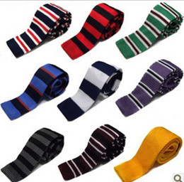 Wholesale Men Knitting Neck Ties Knots tie Men s casual Solid kintted polyester Silk Narrow Design Flat end Necktie Neck Ties COLORS