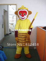 Men Animal Christmas Adult Size Vast Magic Powers Monkey King Mascot Costumes Halloween Costume Fancy Dress Suit Free Shi