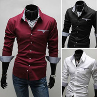 Wholesale Hot Sale New Mens Luxury Casual Slim Fit Stylish Dress Shirts Colours Plus Sizes M XL