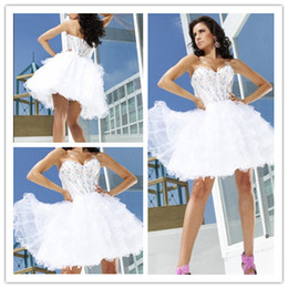 Wholesale New arrival Short Sweetheart Crystals Organza Ball Gown Party Prom Dress Homecoming Dress Q