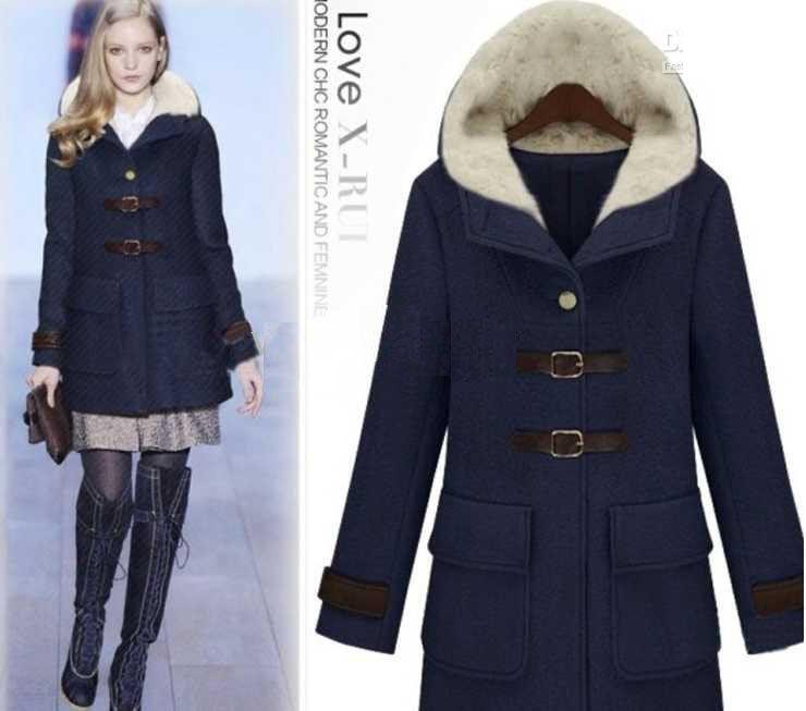 Free Shipping Fashion Women's Dust coat Ladies Hooded Coat Fur Coat