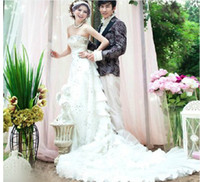 Wholesale mermaid wedding dress winter dress laminate sweep train Rhinestone elongated bodice strapless