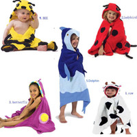 Wholesale Baby Bathroom Towels Children Cartoon Animal Towels Robes Beach Cotton Towels Kids Cute Bath Towels