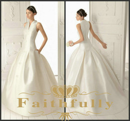 Wholesale White V Neck Mikado Wedding Dresses Applique Front With Pockets Court Train Button Back Satin RIBAS