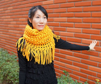 Wholesale Winter warm knitting ruffle scarf loop infinity tassels scarf two way scarves neck warmer