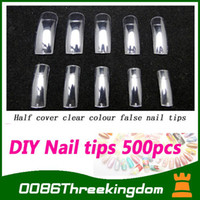 Wholesale 500PCS Professional Long Acrylic UV Gel Fake design Nail art Tips White Clear Natural Hot half cove
