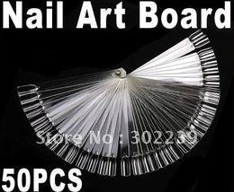 Wholesale 50 Transparent False Nail Art Tips Stick Display Practice Fan Board HB8187 Dropshipping