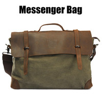 Wholesale Canvas Real Leather Messenger Shoulder Computer Travel Outdoor Fashion Bag Mens Bags