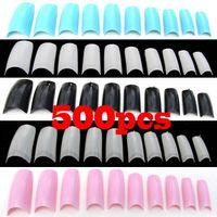 Full artificial nail tips - AA651 French Acrylic Artificial Half False Fake Nail Art Tips Makeup Decoration