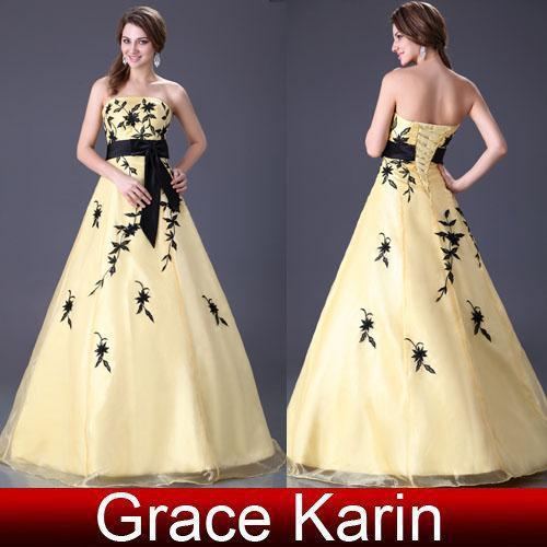 Grace Karin Stock Yellow Lace Up Ball Gown Designer Wedding ...