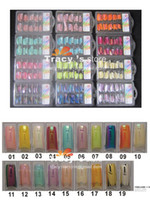amazing shine glitter - 19 Color Design Amazing Rainbow Art False French Nail Tips Tips Pack High Shine Half Cover With
