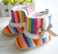 boots baby fur - Baby Casual Shoes Girls Striated Boots Infant Winter Cotton Boots First Walking Shoes Toddler Shoes