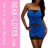 Wholesale lingerie Sexy Tube Mini Dress Strapless Conga Blue Black Red LC2416 Cheaper price Drop
