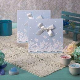 Wholesale Pure And Fresh Light Sky Blue Tri fold Wedding Invitation Set of Wedding Favors