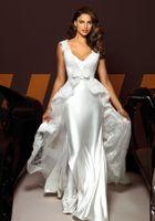 Reference Images White V-Neck V-neck Sheath Stretch Satin Court Lace Train Vintage Wedding Dress 2013 Beach Bridal Gown