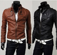 Wholesale Men s Classic Four buckle short paragraph Slim leather Jacket Stand up collar pu leather Jacket
