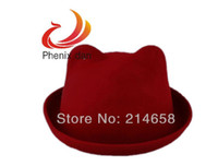 Wholesale Lovely Womens Ladies Cute Wool Blend Derby Cat Demon Ear Hat Cap Bordeaux Red Camel Dark Coffee
