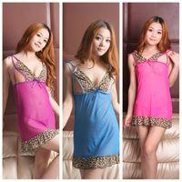 Wholesale Fashion Sexy lingerie chiffon lingeries Leopard braces skirt women underclothes colors