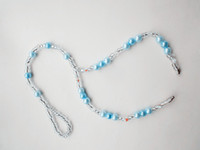 Wholesale barefoot sandals stretch anklet chain with toe ring light blue Retailer Free by China post