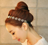 Wholesale Gold Plated Hollow Roses Headbands Girl s Fashion Korean Style Elastic Headbands Hair Accessories for Women HJ098