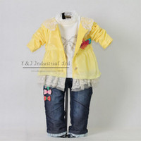 Wholesale 2012 New Autumn Fashion Kids Clothing Set Hot Yellow Dot Girl Jacket And T Shirt And Jeans Pan